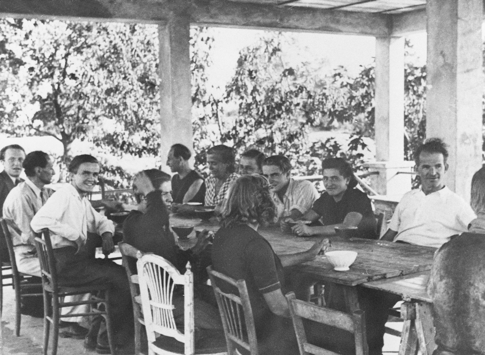 Jewish and Czech workers in the Vence children's home.  Those pictured include Goldstein, Wetzler, Suchy and Vanek.