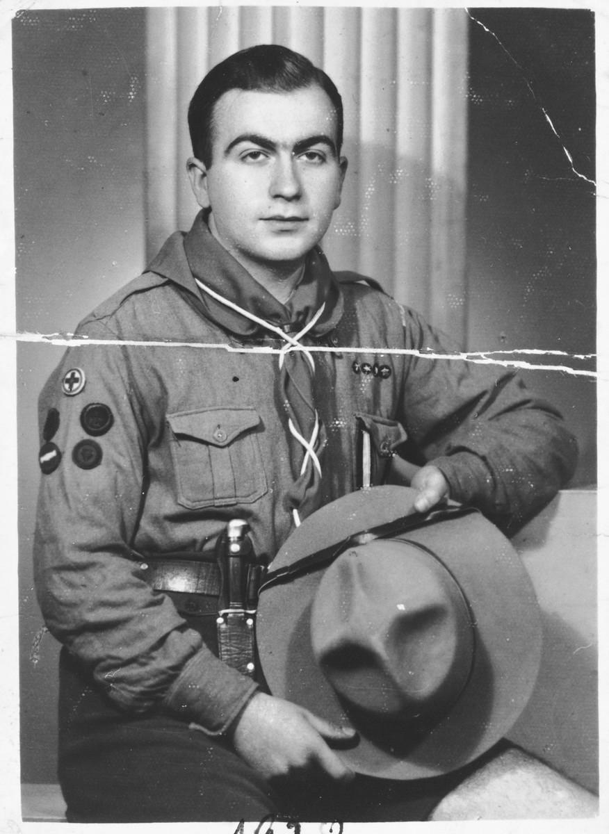 Portrait of Albert Levy in his scout uniform.