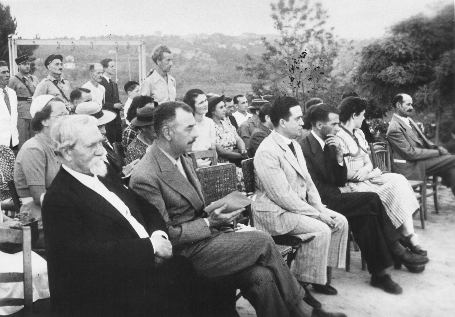 Inauguration of the MACE children's home in Vence.  Those pictureed include Joseph Fisera (standing center), Pierre Toureille, and Dr. Du Bina.