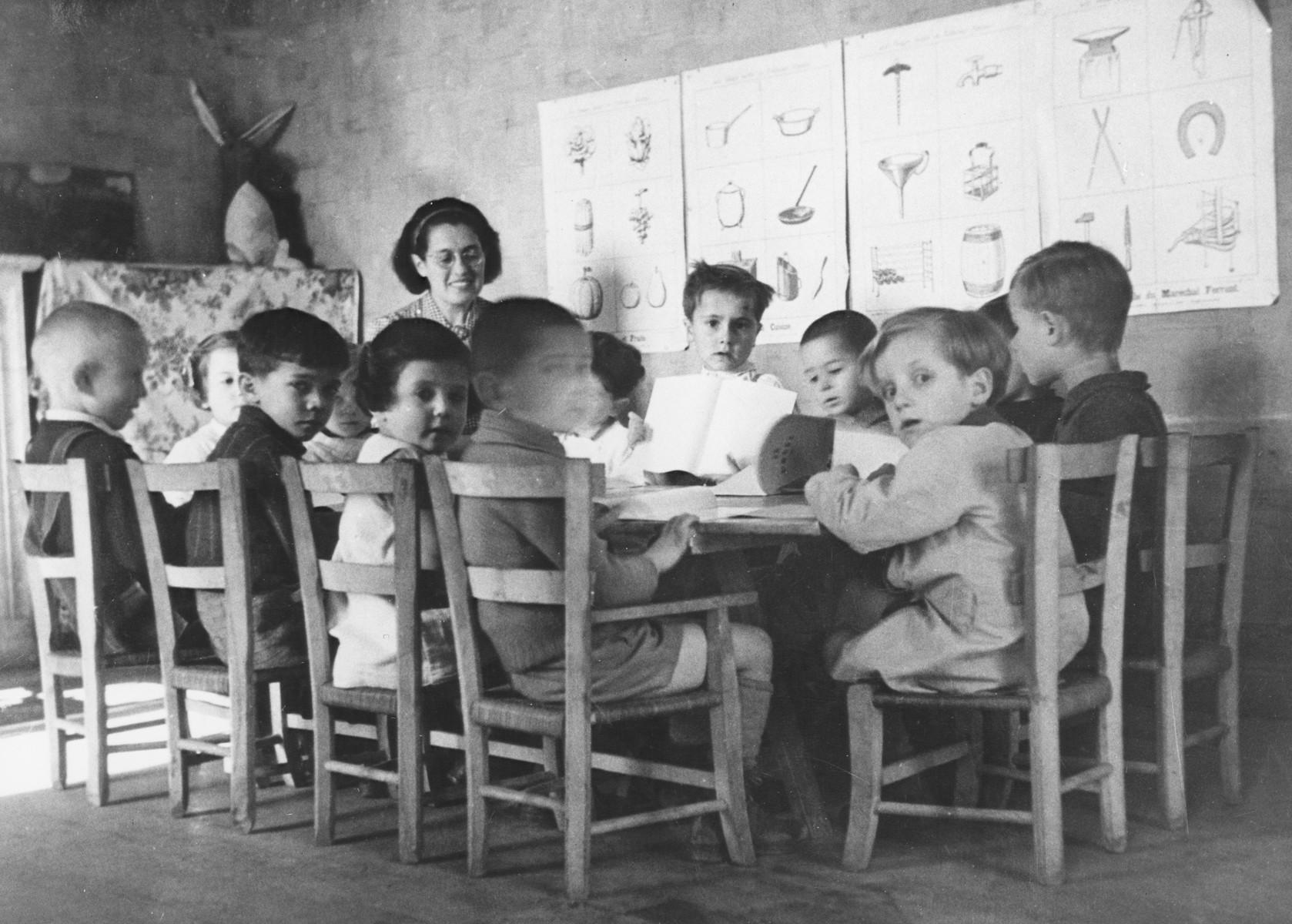 Julie Hermanova, a Czech Jewish nursery teacher, teaches a class in the Vence children's home.