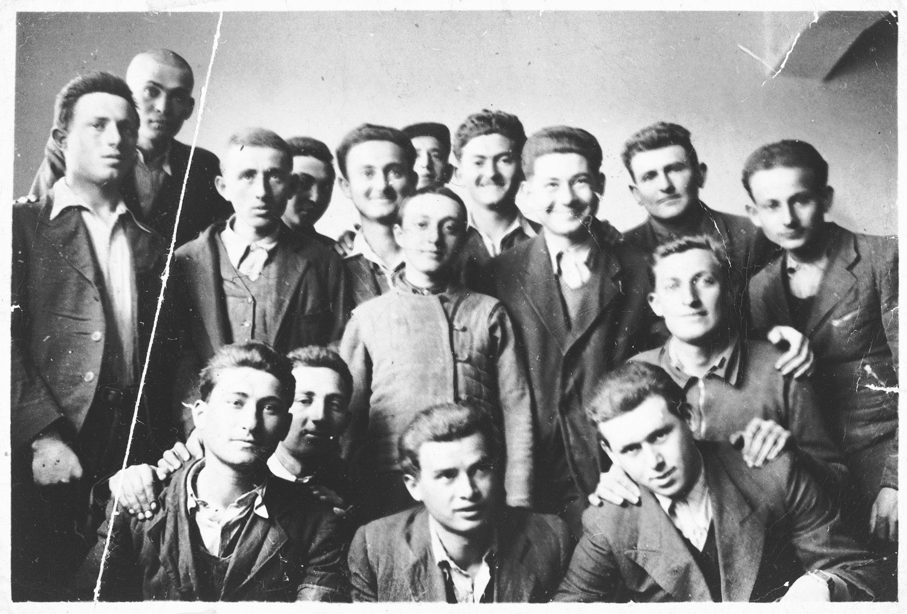 Young Jewish men from Transylvania in a Hungarian labor brigade.  Pictured on the far left is Erno Grosz.