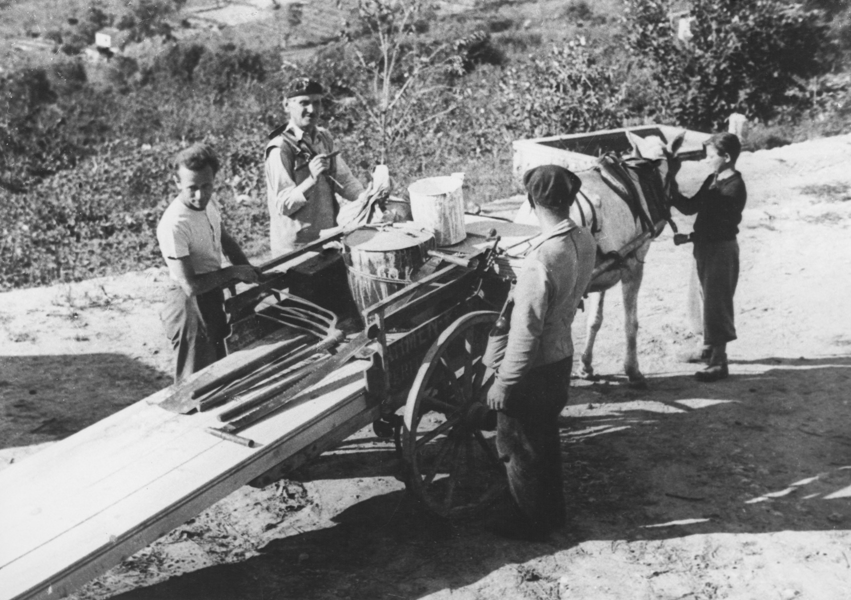 Jewish teenagers work on a farm near Vallon where they are hiding under the protection of MACE.