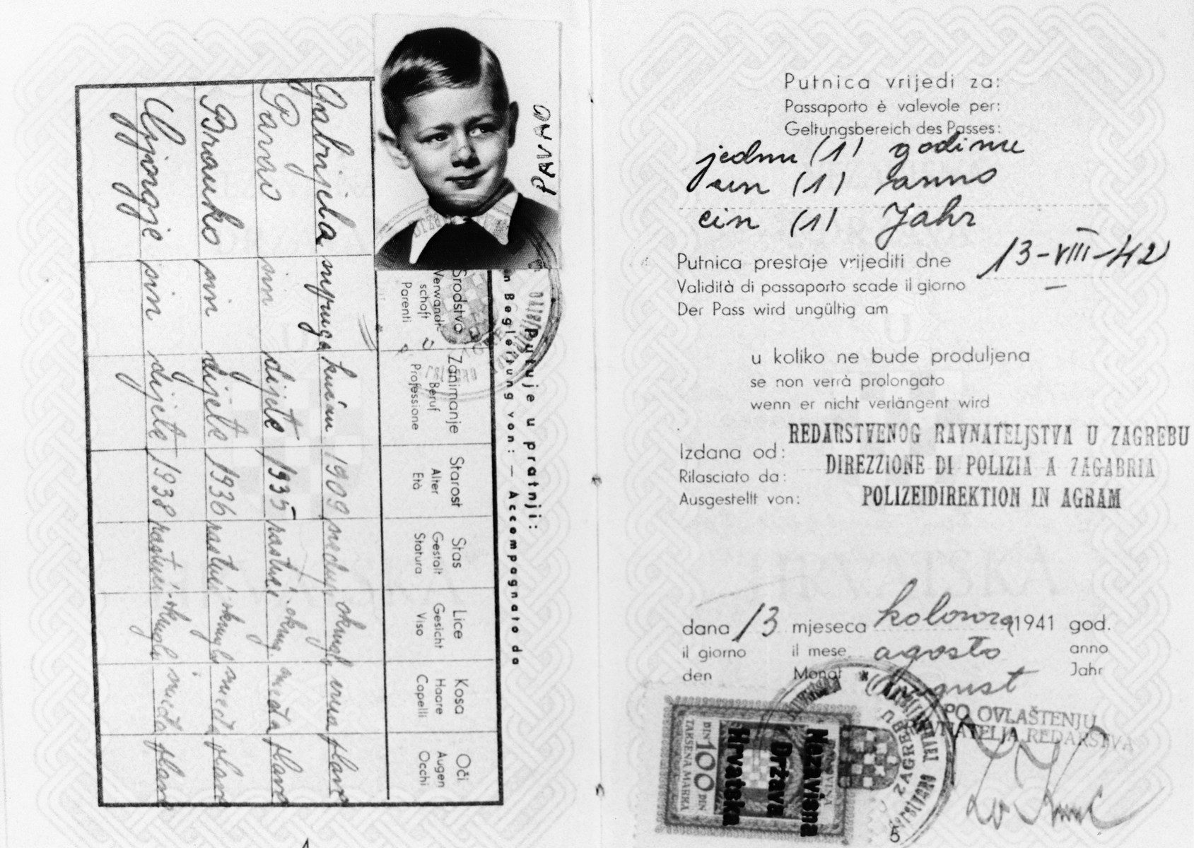 Croatian passport issued to a Jewish family, in Zagreb on August 13, 1941, with picture of Pavao's (Pavel) Deutsch.