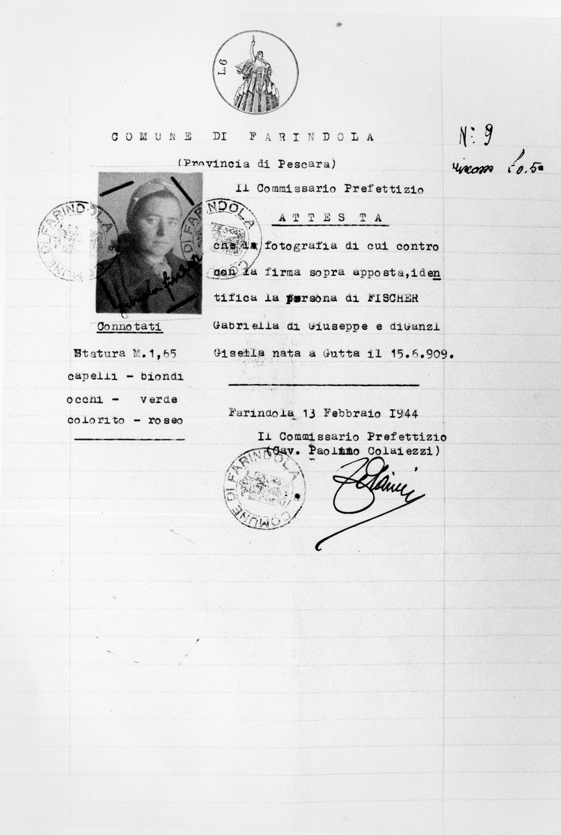 Identity papers issued to a Jewish refugee, Gabriela Deutsch, in Farindola, Italy, where she fled following the German occupation of the country.  This identity paper was issued in the name of Gabriela Fischer (her maiden name) as Deutsch is a Jewish surname. It mentions her parents as Ganzl, her mother's maiden name. Farondola (PE) Italy, 13 February 1944.