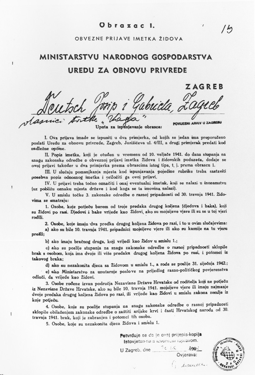 Croatian registration document of Jewish Property for the VAGA factory in Zagreb that was issued by the NDH (Independent State of Croatia) prior to its confiscation from its Jewish owner, Josef Deutsch.