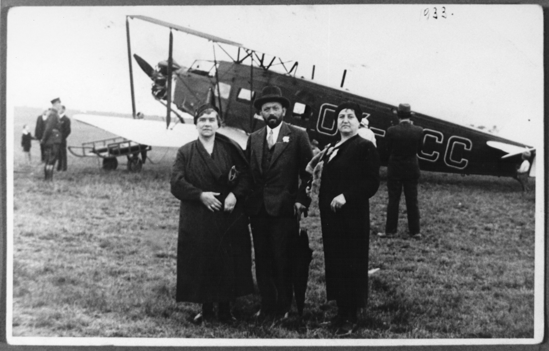 Three Jews pose at an airfield in Slovakia in 1933.  Among those pictured is Gizella Fischer (the mother of Gabriela Deutsch) on the right.