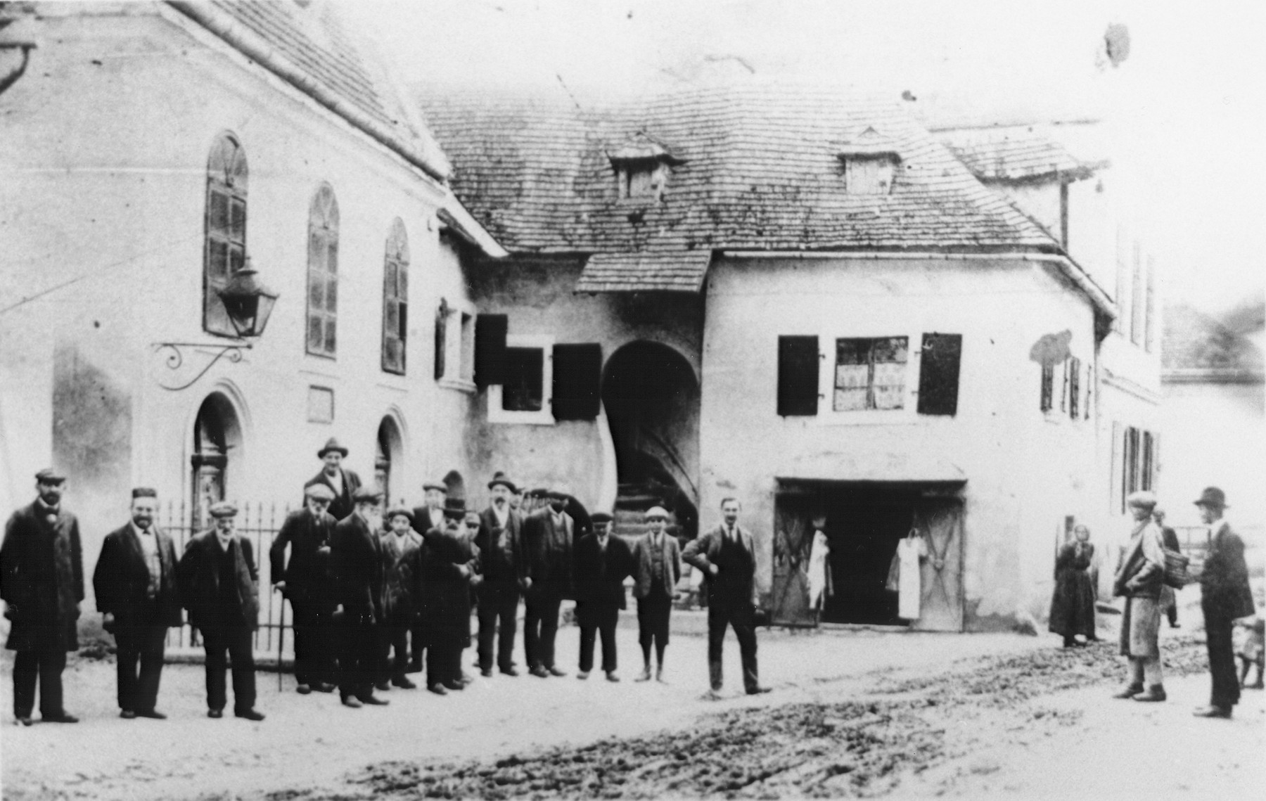 Local Jewish residents gather outside the synagogue in Mattersburg, Austria.