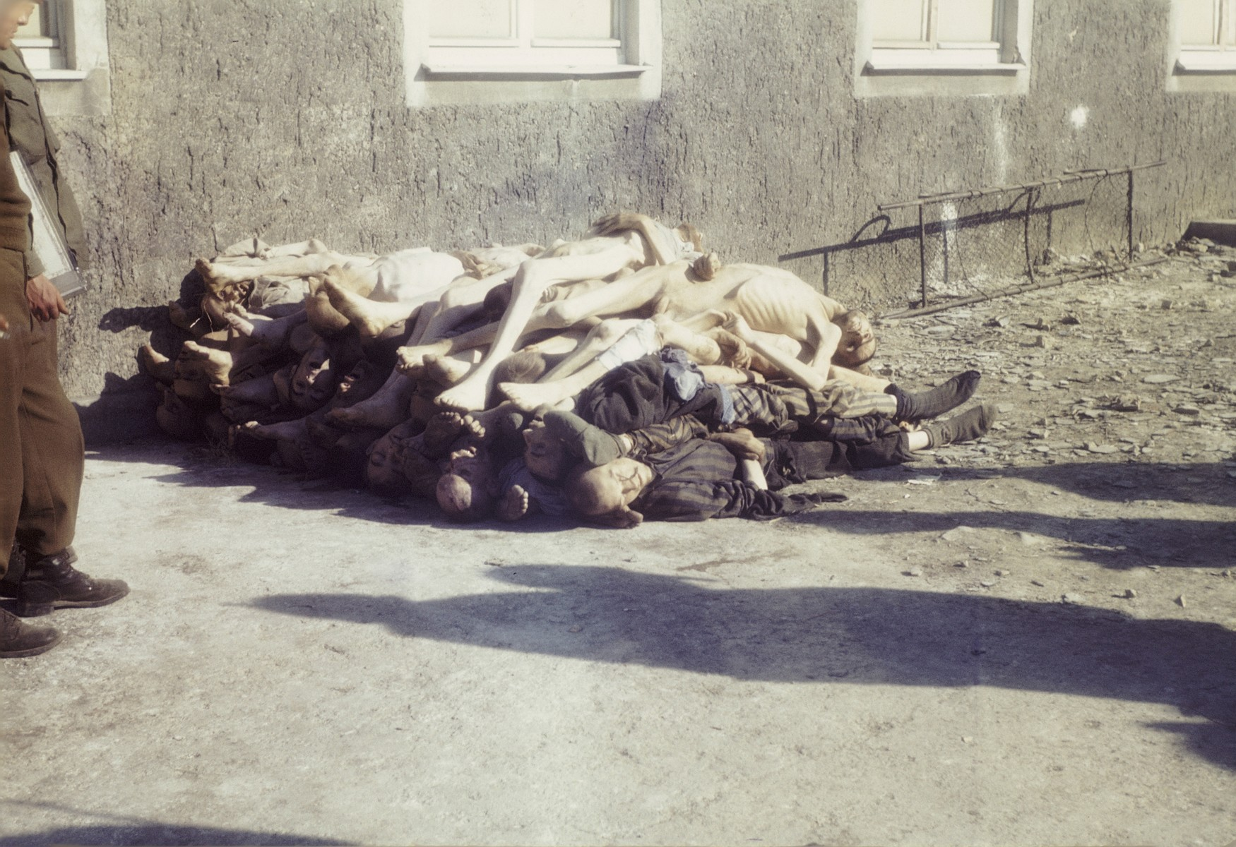 A pile of corpses stacked outside the crematorium in the newly liberated Buchenwald concentration camp.
