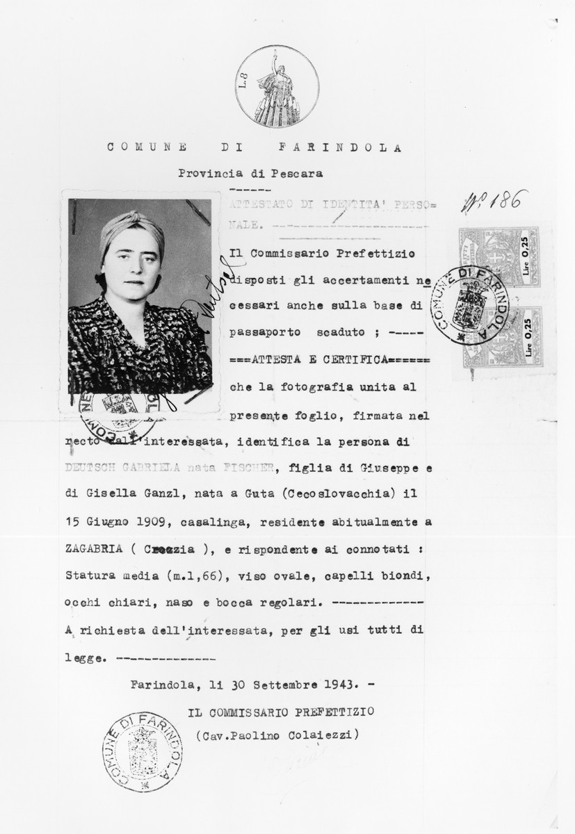 Identity papers issued to a Jewish refugee, Gabriela Deutsch, in Farindola, Italy, where she fled following the German occupation of the country.  This identity paper was exchaged for an identity paper in the name of Gabriela Fischer as Deutsch is a Jewish surname. Farindola (PE) Italy 13 September 1943. (60702A)