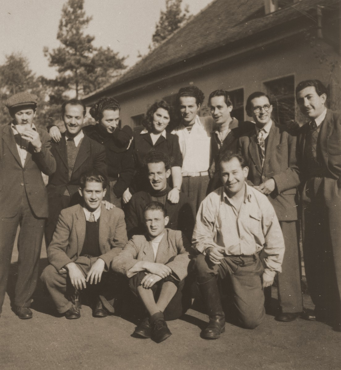 Group portrait of members of the Kibbutz Haghibor hachshara in the Bergen-Belsen DP camp.