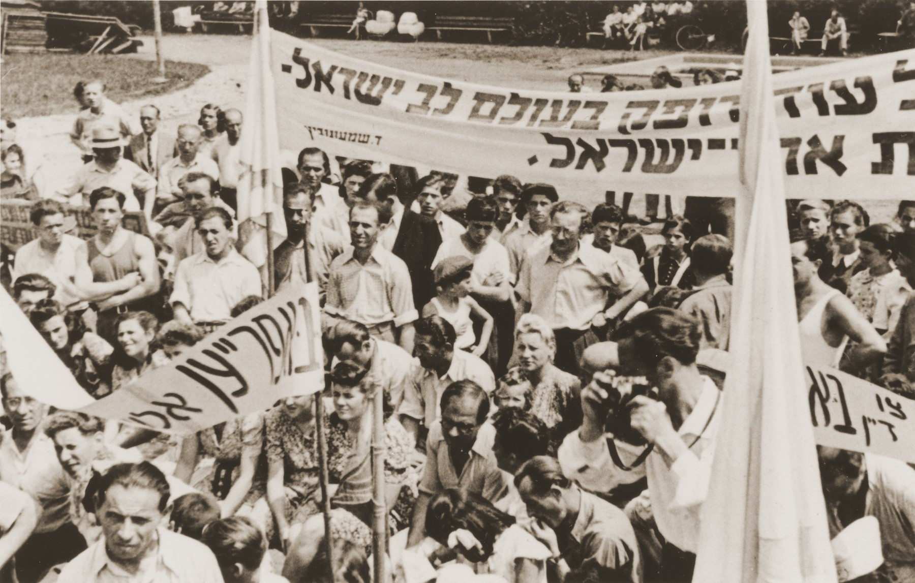 DPs in the Landsberg displaced persons camp attend a demonstration to protest against British immigration policy to Palestine.