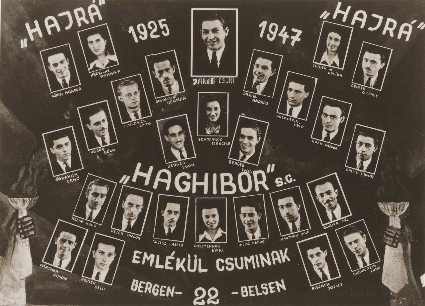 Members of Kibbutz Haghibor sports club in the Bergen-Belsen displaced persons camp.    The Arons are pictured at the top left.