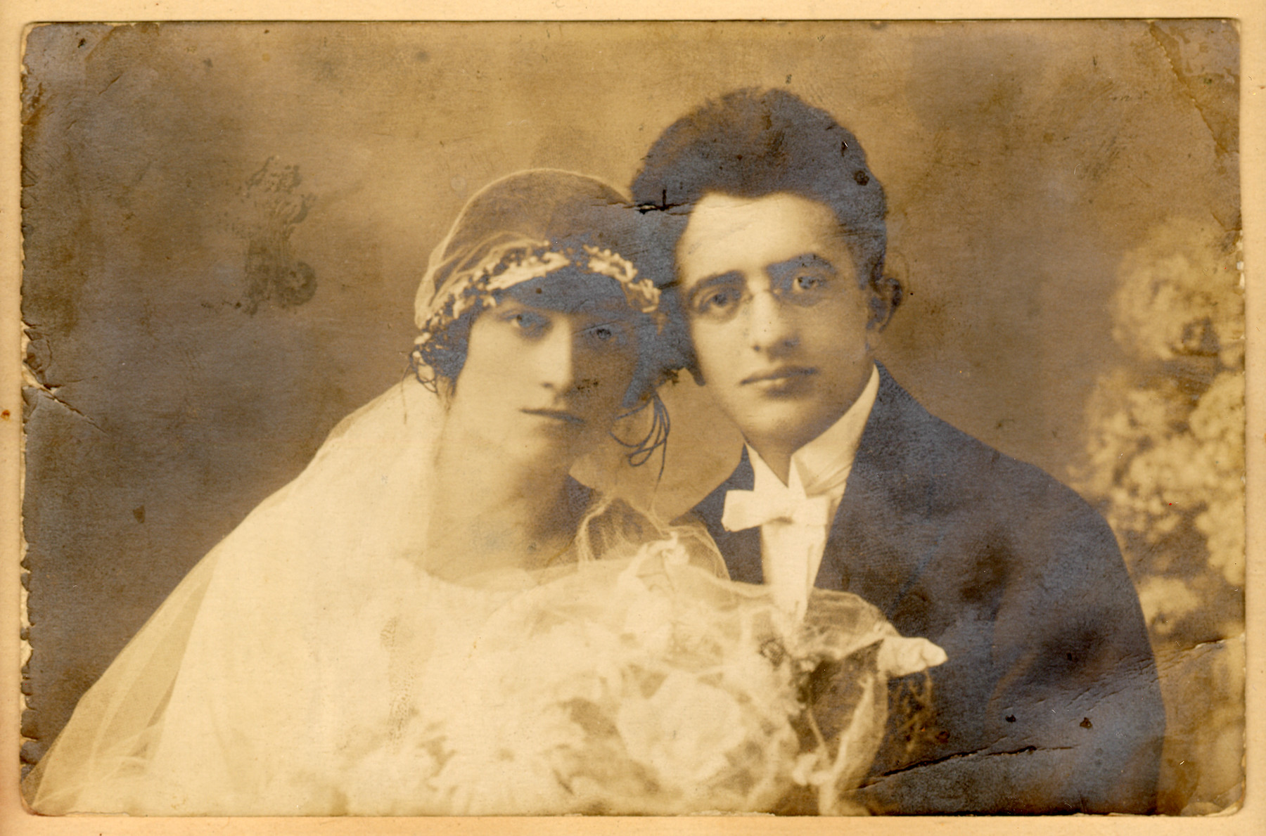 Wedding portrait of a young couple in Drohobycz.  Pictured are Herman Lustig and Otilia Graumann Lustig.