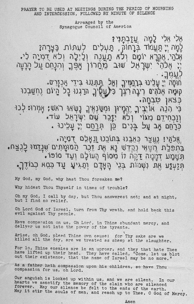 Copy of a prayer composed by Noah Golinken, a rabbinical student at The Jewish Theological Seminary of America in New York, expressing anguish at the slaughter of European Jewry.  The prayer, written in Hebrew and English, was adopted by the Synagogue Council of America.