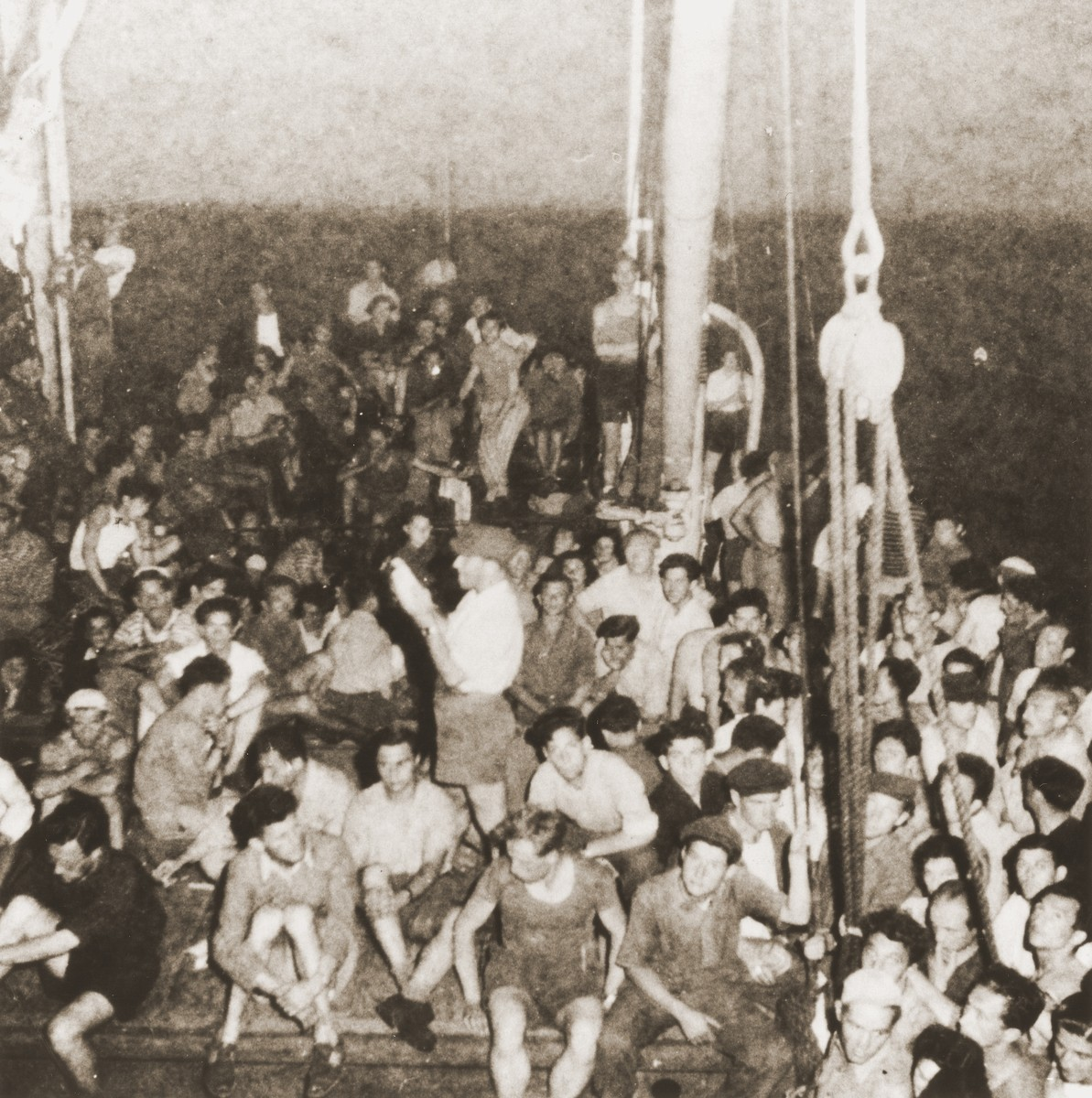 Passengers crowd the deck of the the Mala immigrant ship en route to the new State of Israel.