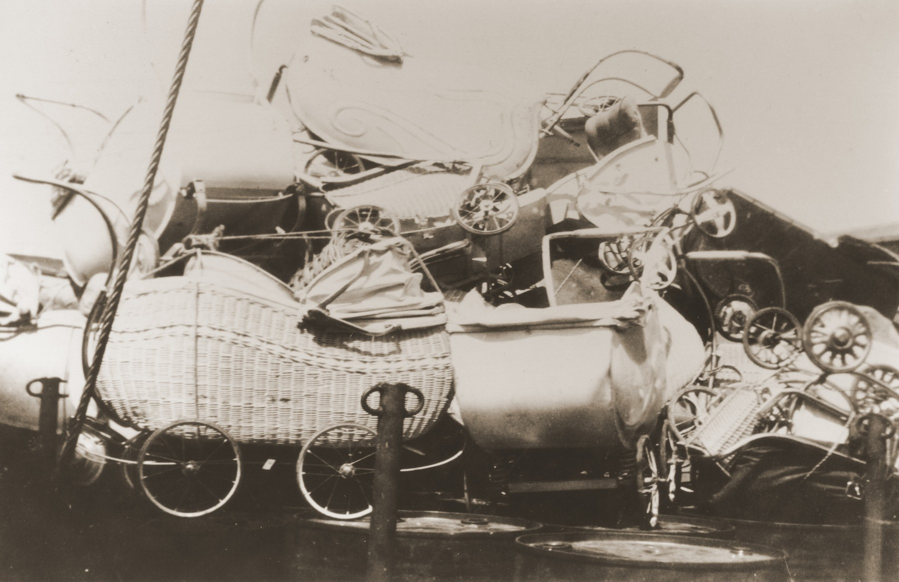 The only DP cargo was a pile of baby carriages on the deck of the Mala immigrant ship that is en route to the new State of Israel.  The carriages were often used by DPs as a means of transporting their possessions.