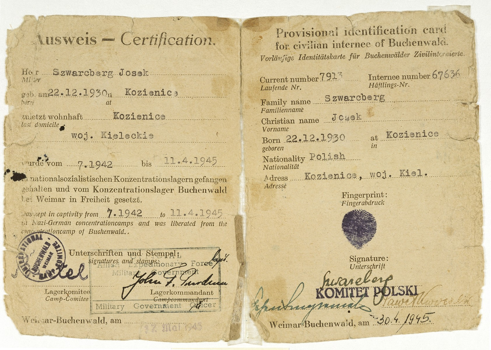 Identification card issued to child survivor, Joseph Szwarcberg, by the American military government after his liberation from Buchenwald.