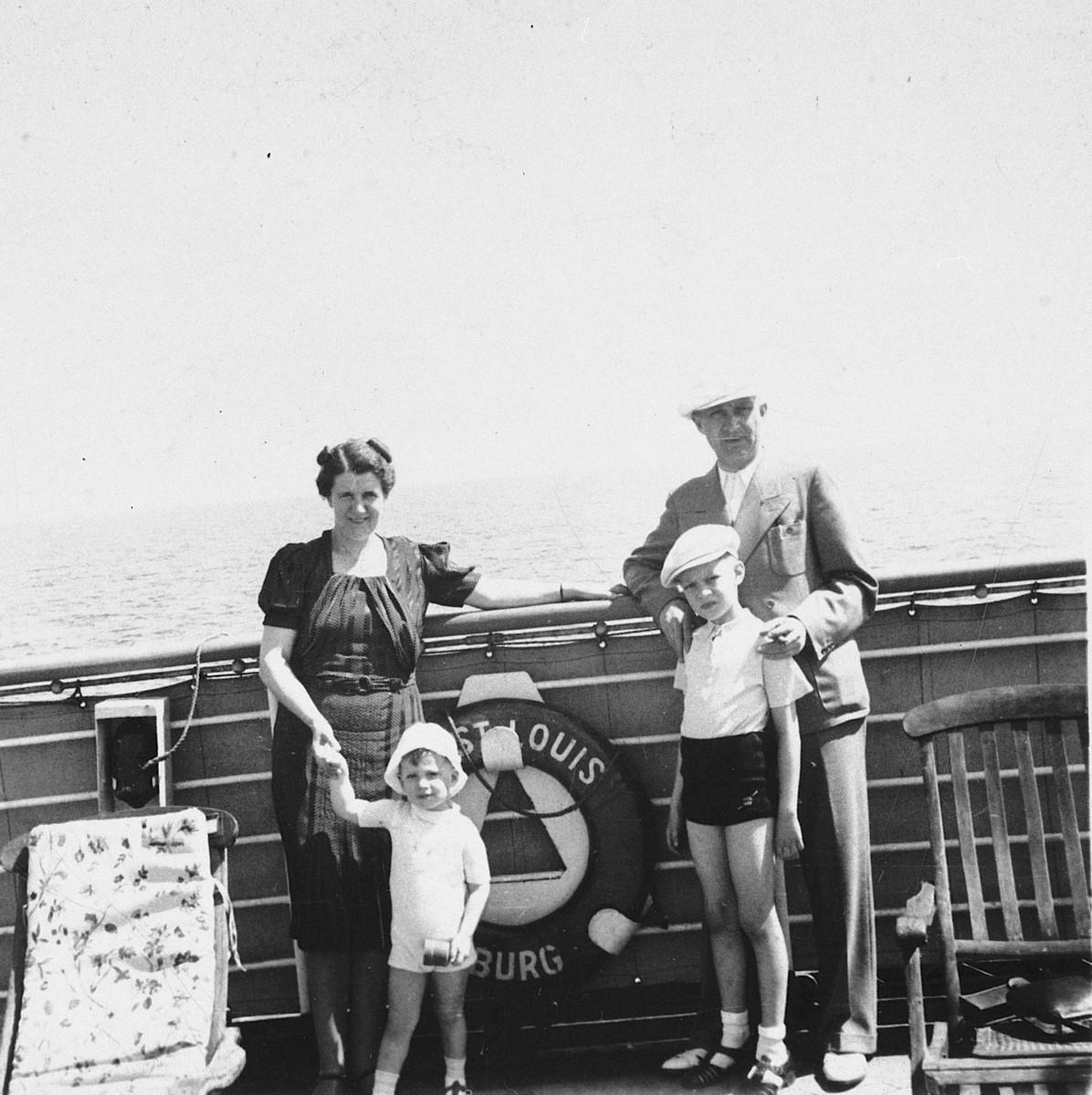 The Chraplewski family poses on board the St. Louis.  Pictured are Klara, Peter, Siegfried and Jan Chraplewski.