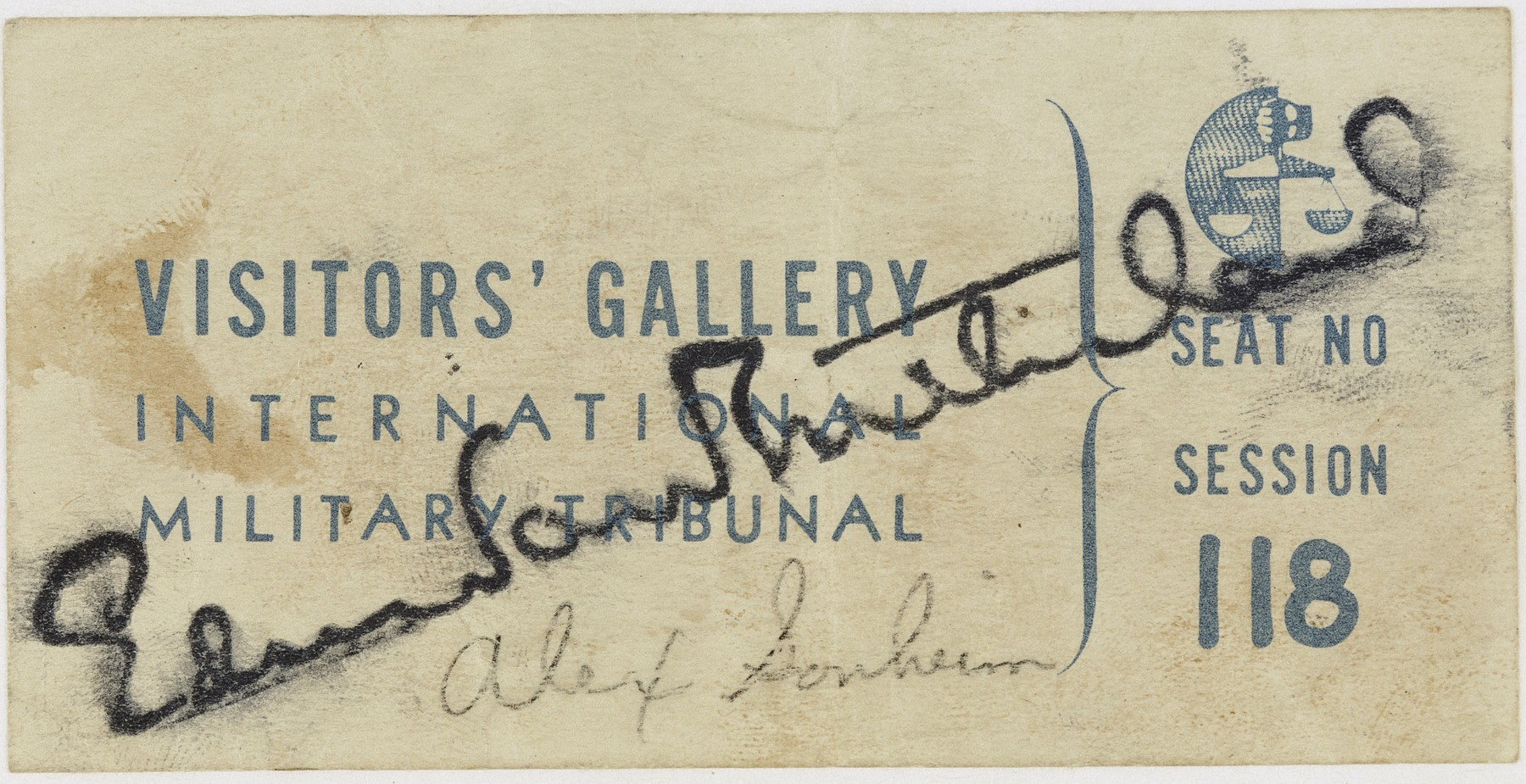 Visitors' Gallery pass to the International Military Tribunal at Nuremberg issued to Alex Sonheim.