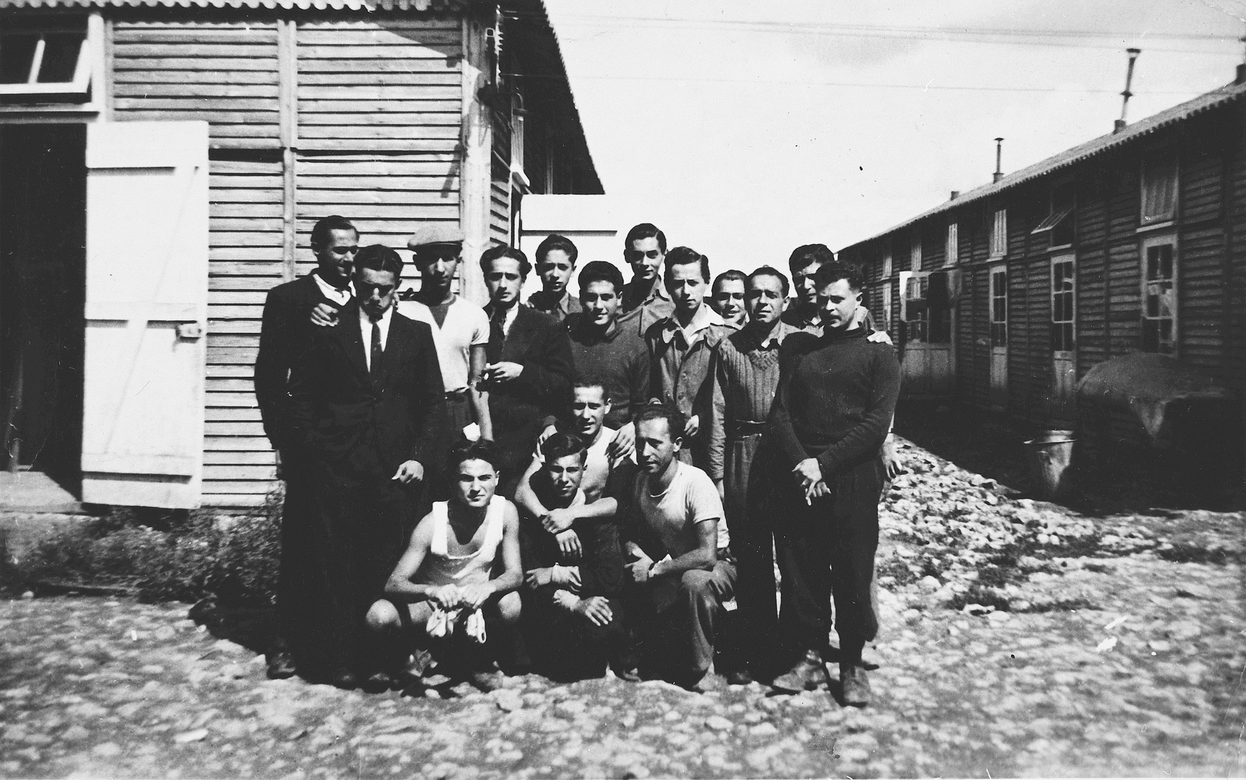 Group portrait of prisoners from barracks #13 in the Beaune-la-Rolande internment camp.