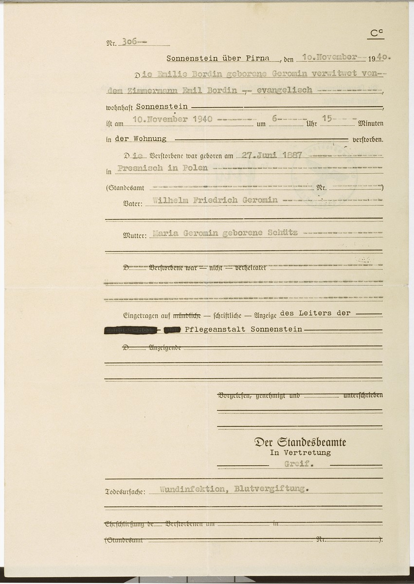 Death certificate issued for the Protestant widow, Emilie (Geromin) Bordin, by the Sonnenstein ueber Pirna Nazi euthanasia facility.  The document lists the cause of death as wound infection and blood poisoning.