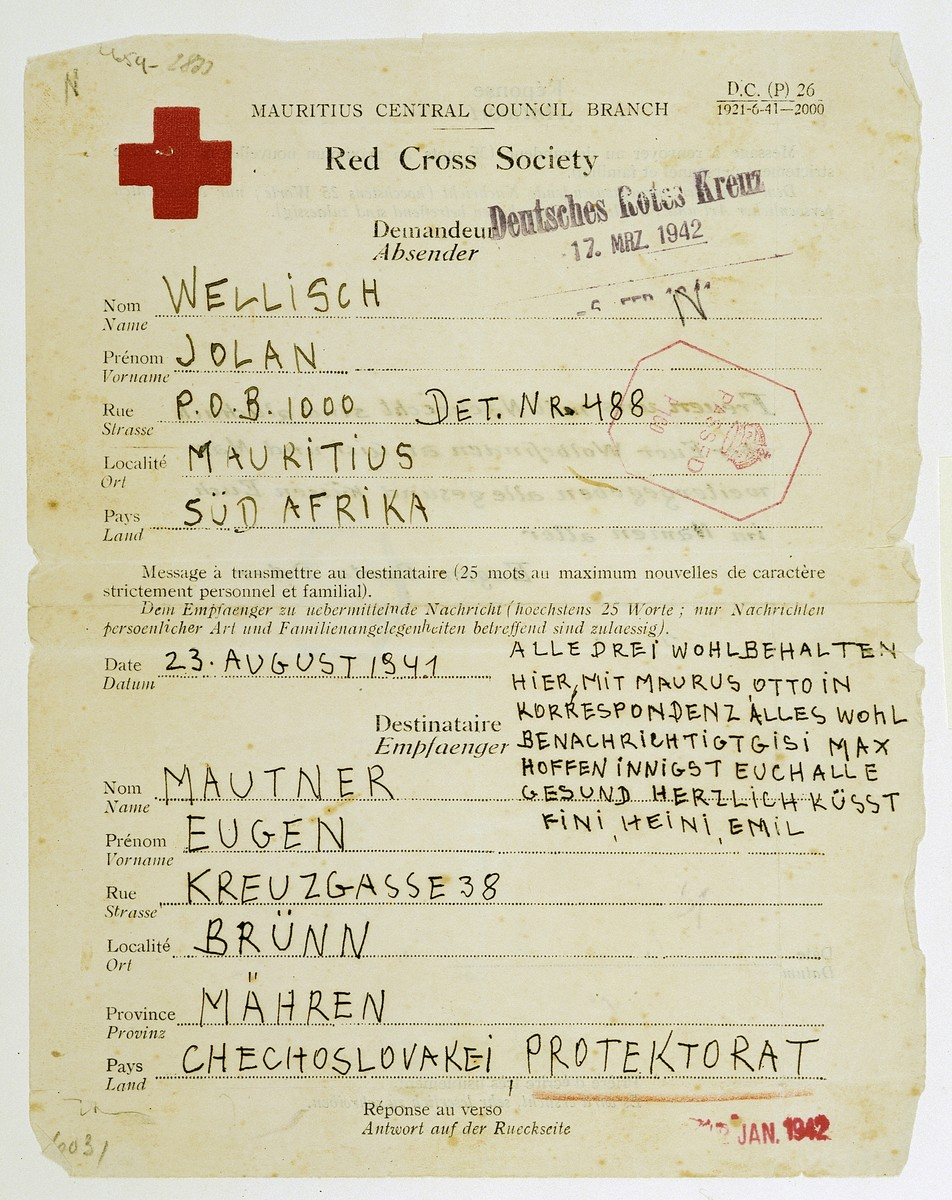 Telegram sent by Jolan Wellisch in Mauritius to her brother-in-law in Czechoslovakia notifying him that they are safe and well.