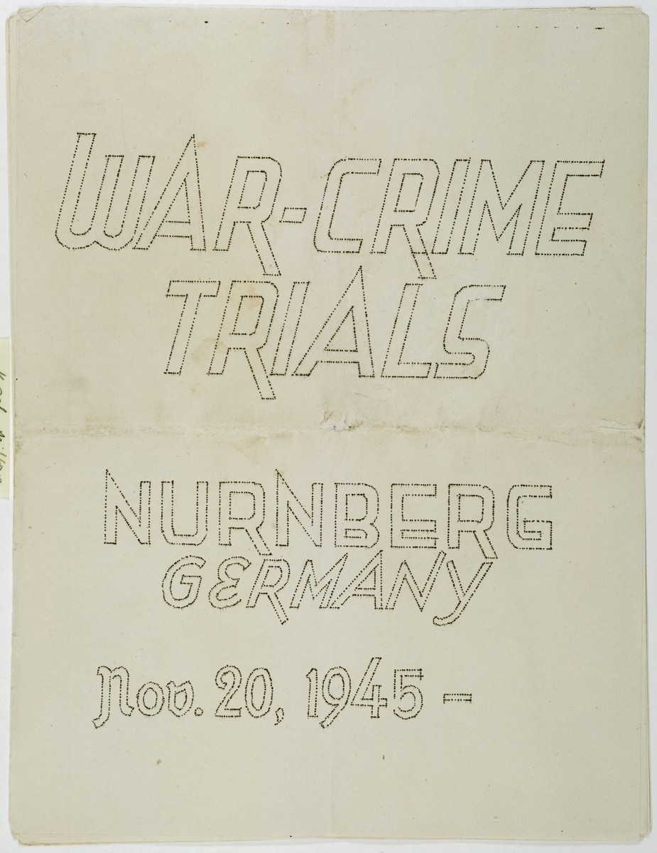 Mimeographed program to the International Military Tribunal at Nuremberg for November 20, 1945.