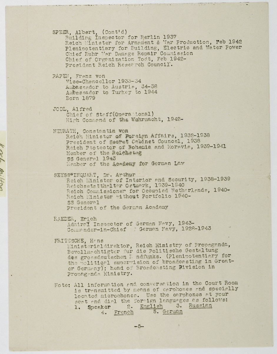 Page 5 of a list of the defendants with brief resumes which was part of a mimeographed program to the International Military Tribunal at Nuremberg for November 20, 1945.  The list includes: Albert Speer (cont.), Franz von Papen, Alfred Jodl, Constantin von Neurath, Artur Seyss-Inquart, Erich Raeder and Hans Fritzsche.