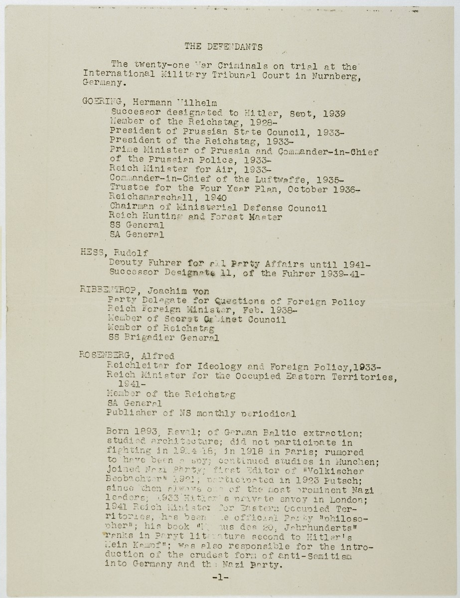 Page 1 of a list of the defendants with brief resumes which was part of a mimeographed program to the International Military Tribunal at Nuremberg for November 20, 1945.  The list includes: Hermann Goering, Rudolf Hess, Joachim von Ribbentrop and Alfred Rosenberg.