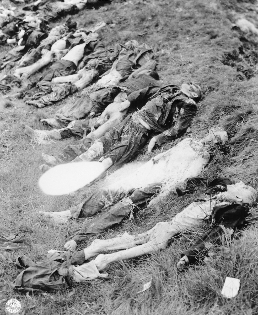 The bodies of 140 Hungarian, Russian, and Polish Jews exhumed from a mass grave near Schwarzenfeld.   The victims died while on an evacuation transport from the Flossenbuerg concentration camp.