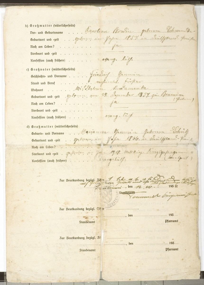 Side two of a certificate of Aryan ancestry for Rudolf Bordin (b. November 19, 1914) issued by the Registry Office in Breitenau.