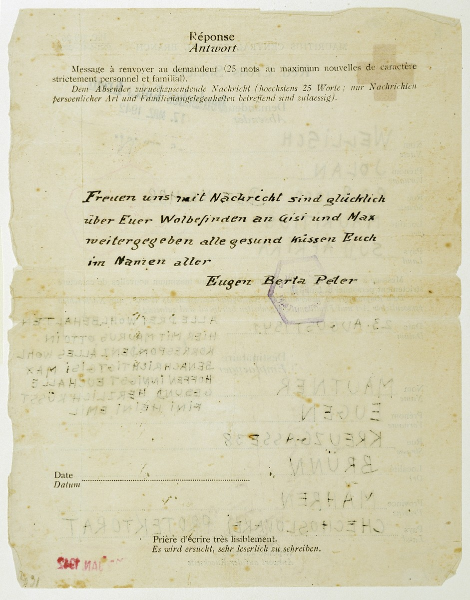 Return message from Berta and Eugen Mautner to the telegram sent by their sister, Jolan Wellisch in Mauritius.  Berta, Eugen and Peter Mautner later perished in the Holocaust.