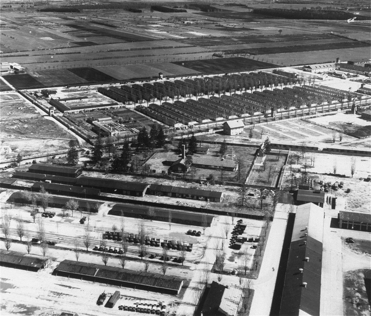 Aerial view of the Dachau concentration camp.