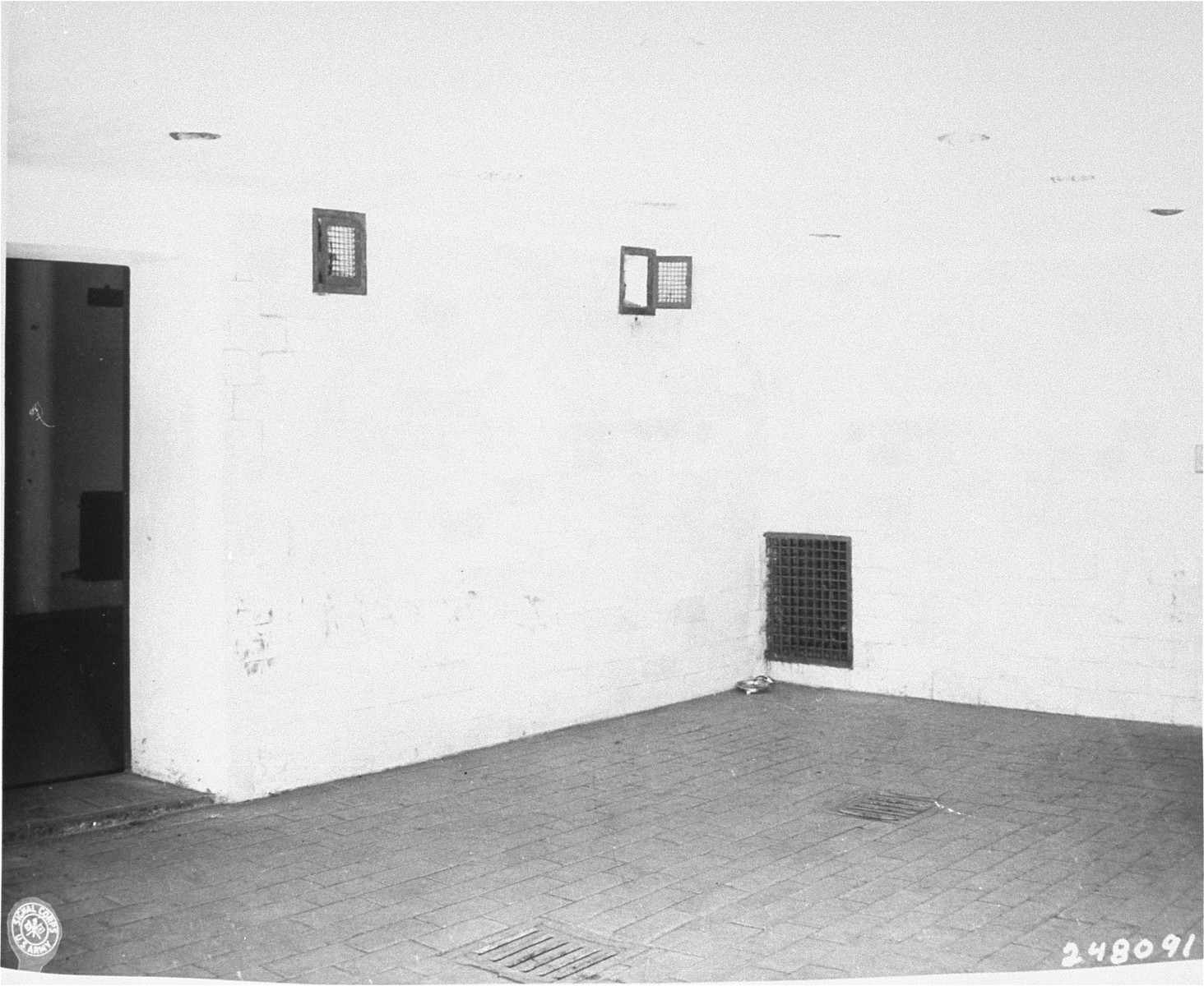 A gas chamber in Dachau several months after liberation.