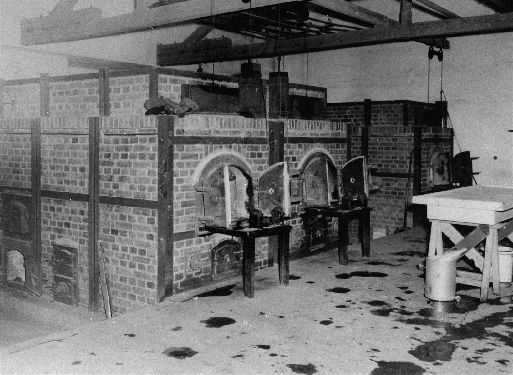 The ovens in the crematorium at Dachau.