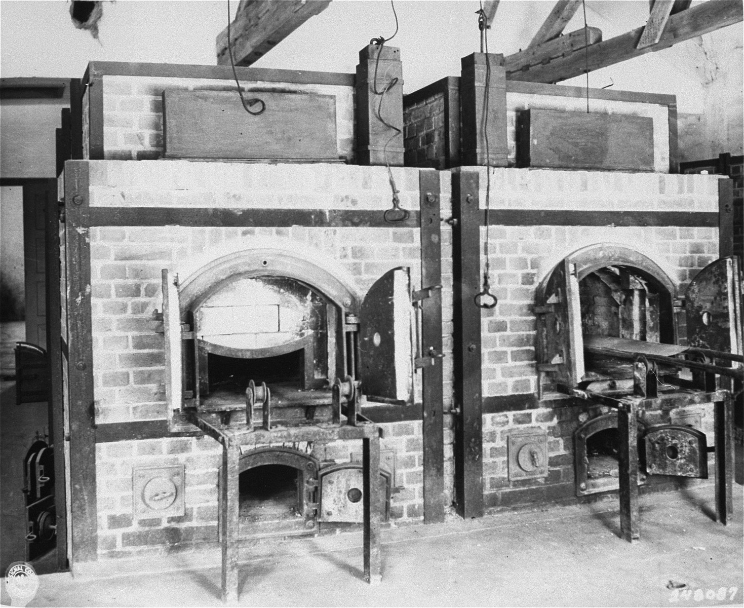 Two ovens inside the crematorium at the Dachau concentration camp.