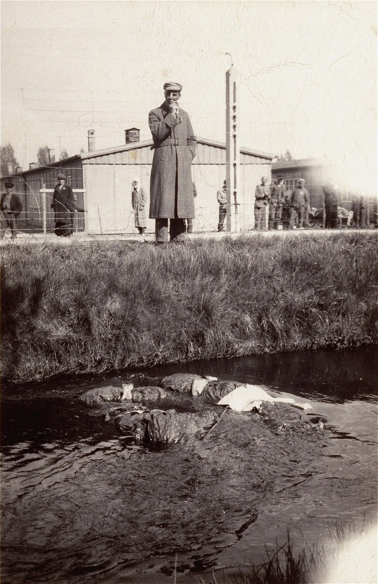 A survivor in Dachau looks at the corpses of SS guards in the camp moat.
