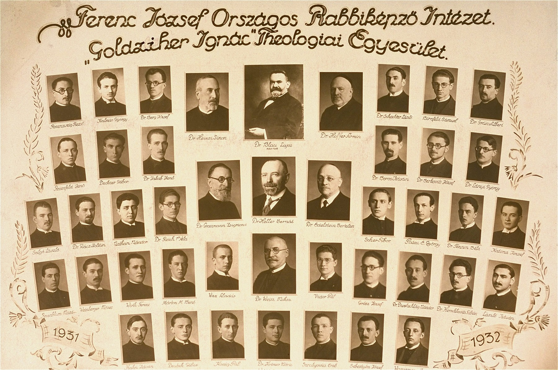 Class photograph of the rabbinical students at the Goldziher Ignac Theologiai Egyesulet (rabbinical seminary), 1931-32.  Included are Jozsef Katona and Raphael Patai.