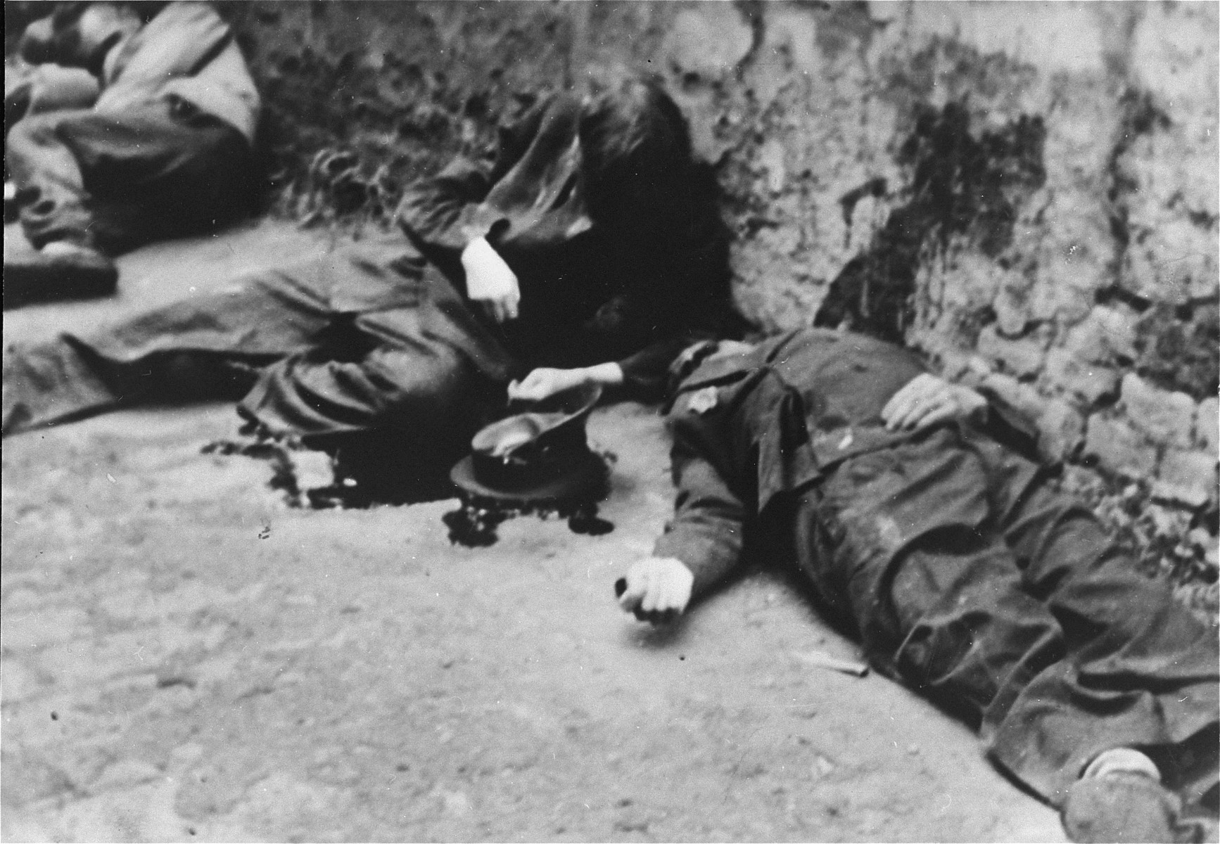 The bodies of Jewish policemen executed by the SS during the Warsaw ghetto uprising.