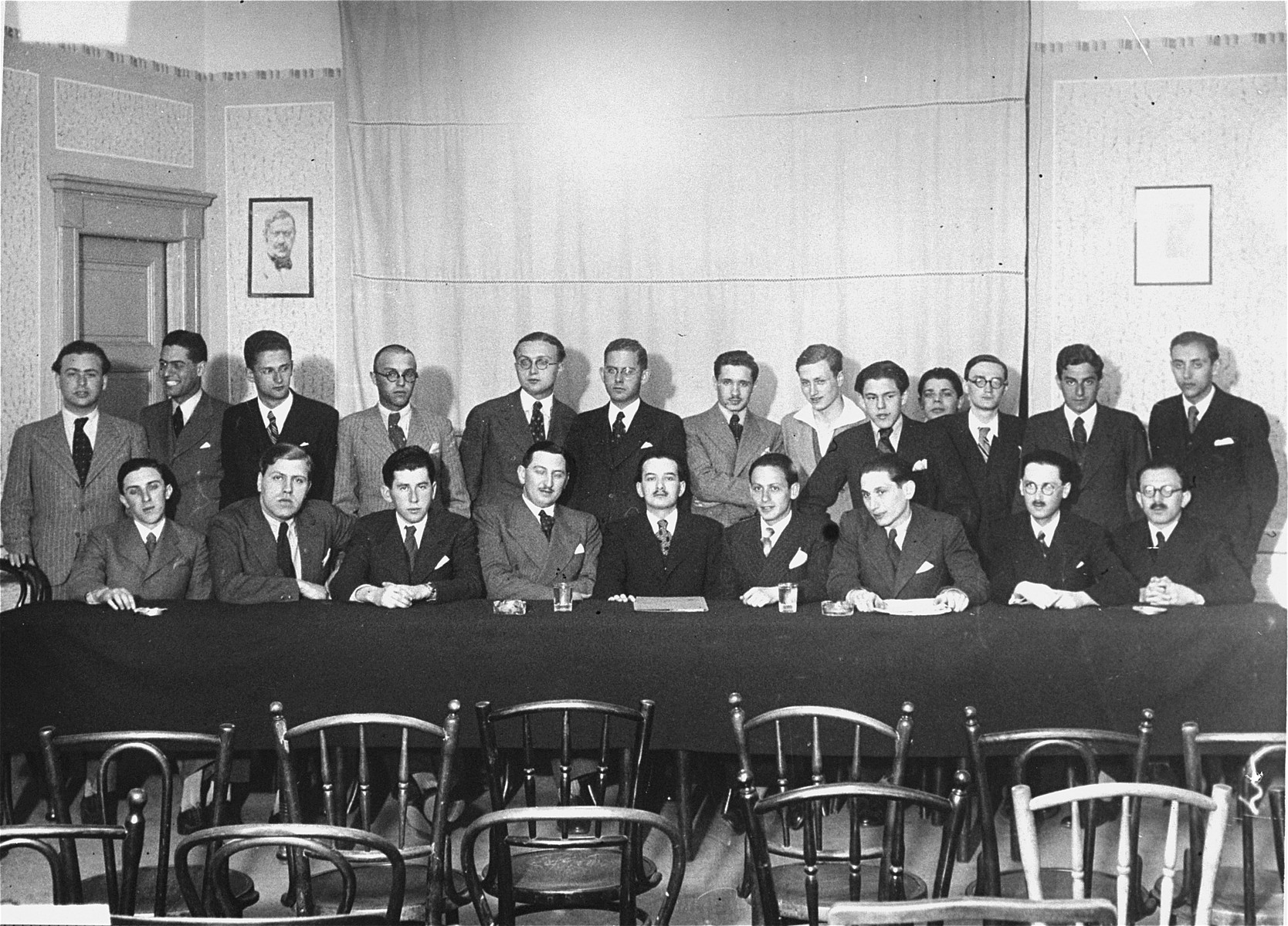 Group portrait of the leadership of the Association of Hungarian Israelite University Students (Magyar Izraelita Foiskolai Hallgatok Orszagos Egyesulete).    Among those pictured are Ferencz Gatner and Siegfried Roth.