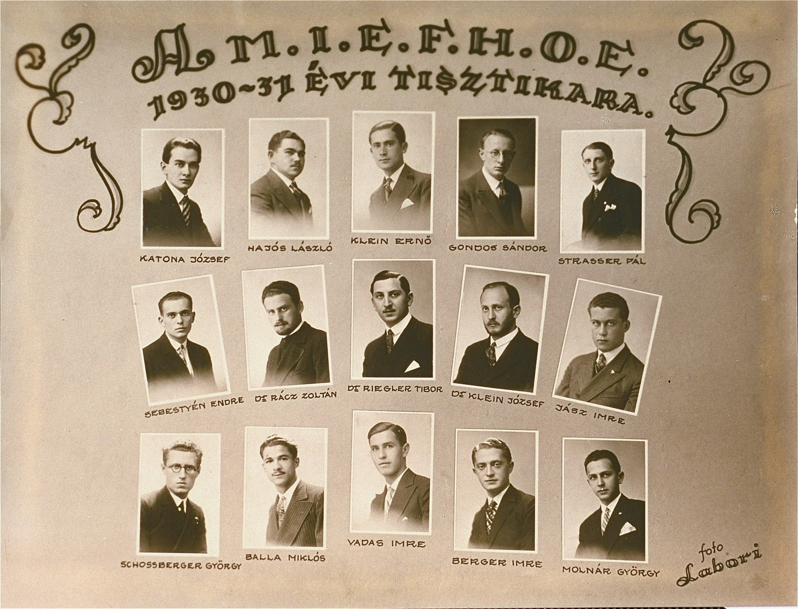 Portraits of the leaders of the Association of Hungarian Israelite University Students (Magyar Izraelita Foiskolai Hallgatok Orszagos Egyesulete).
