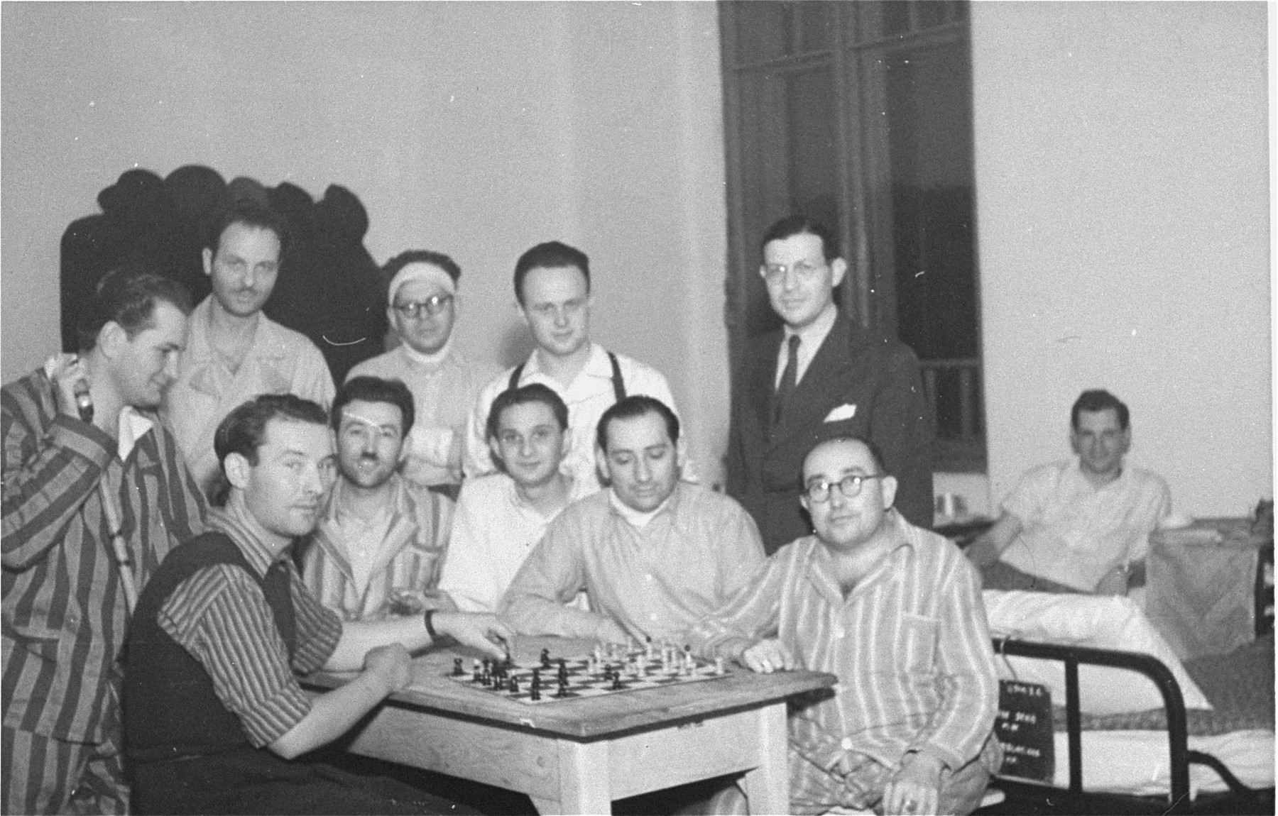 Members of an Hungarian Jewish labor brigade convalescing in a hospital in Budapest.