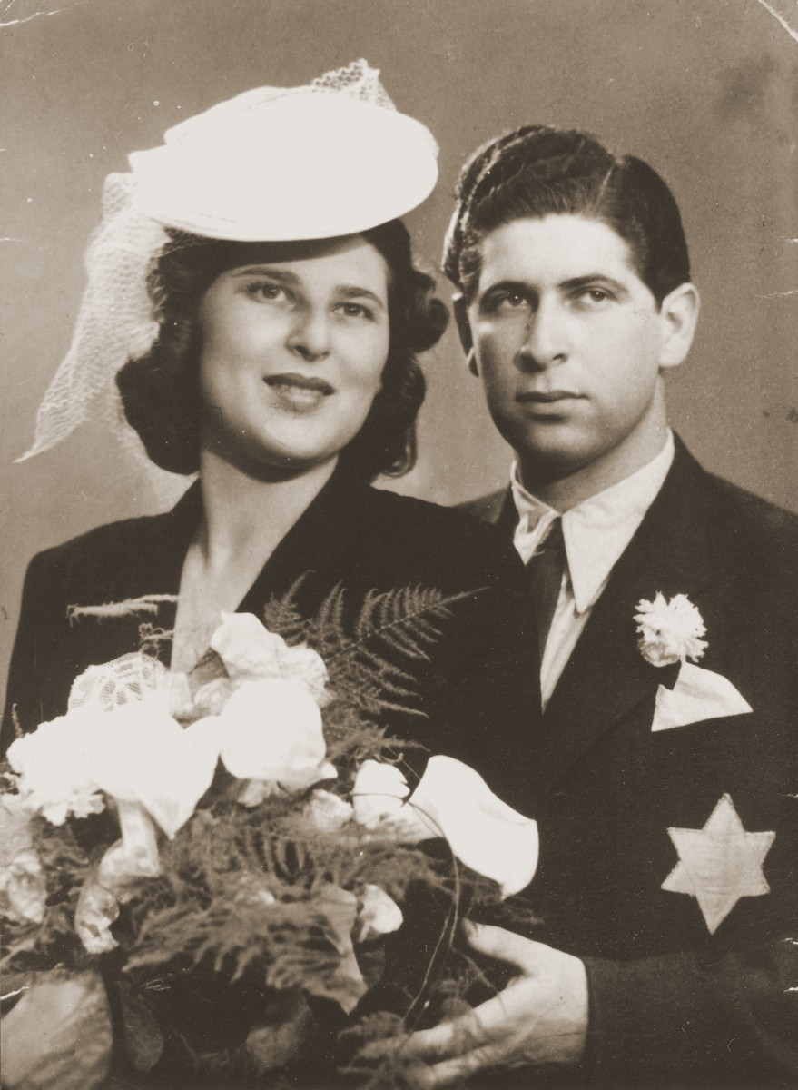 Wedding portrait of Klara Krausz and Imre Rosner.
