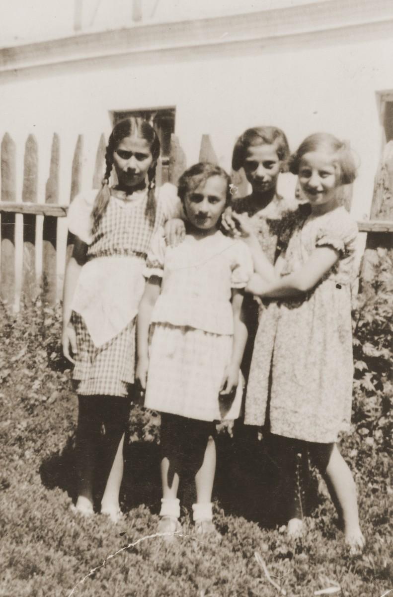 Hania Goldman (right) poses with three girlfriends in Zabno, Poland.
