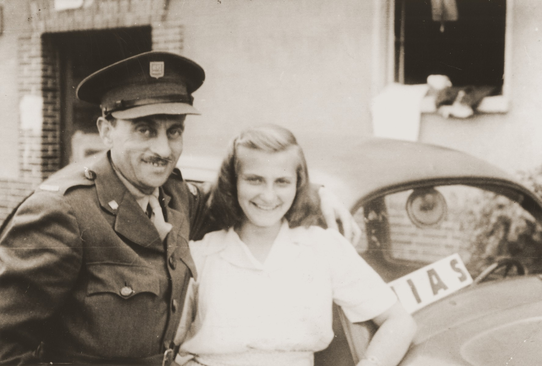 Salusia Goldblum poses with HIAS officer, Menachem Kraicer, at the Bergen-Belsen displaced persons camp.  Menachem was the brother-in-law of Salusia's aunt Ange (Broda) Kraicer in Toronto.  It was with his assistance that Salusia was able to secure a place on the SS Ernie Pyle.