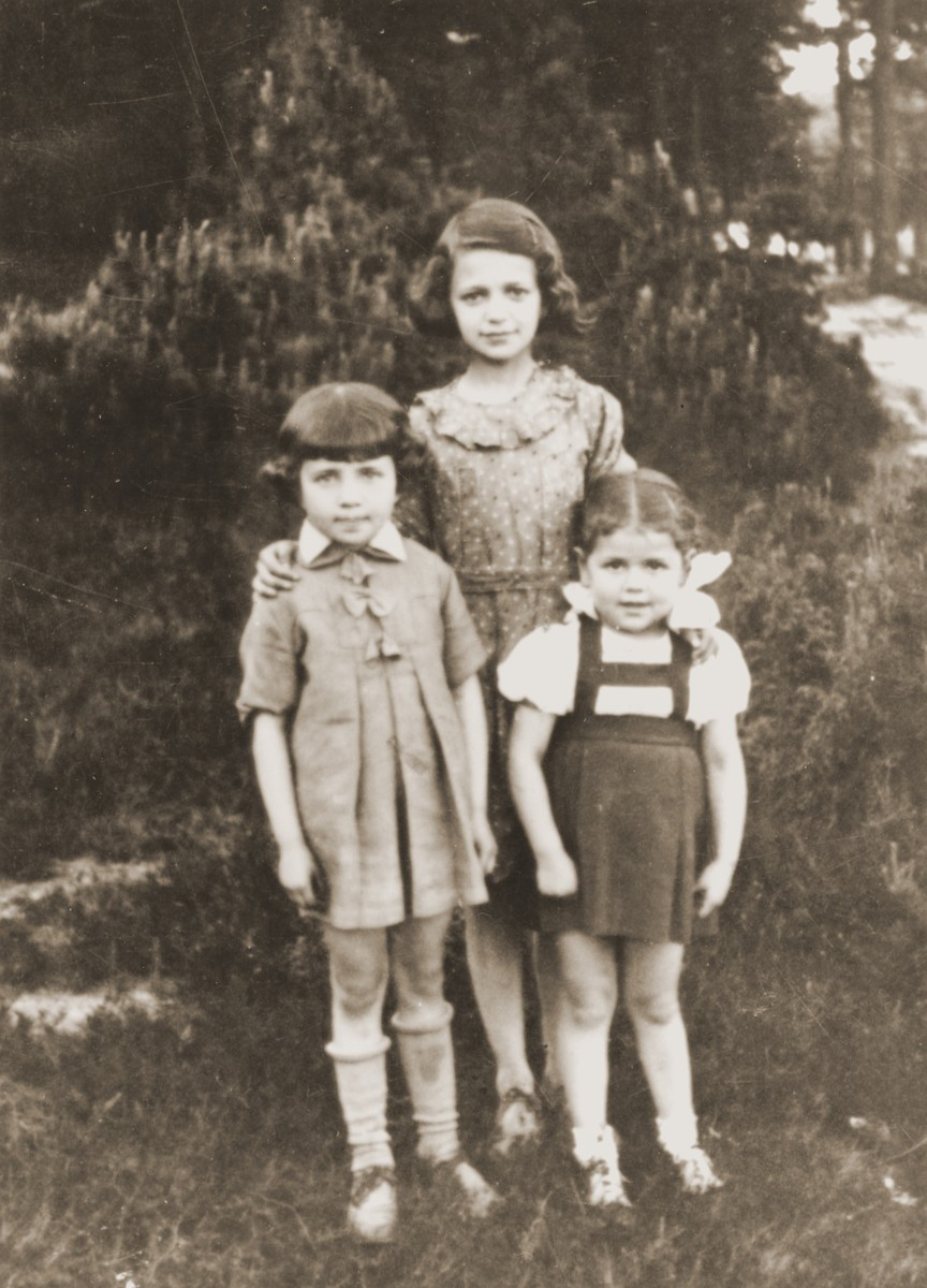 Three Jewish children pose outside in Wolbrom, Poland.  Pictured are Estera (left), Hadasa (middle), and Chana (right) Werdygier.