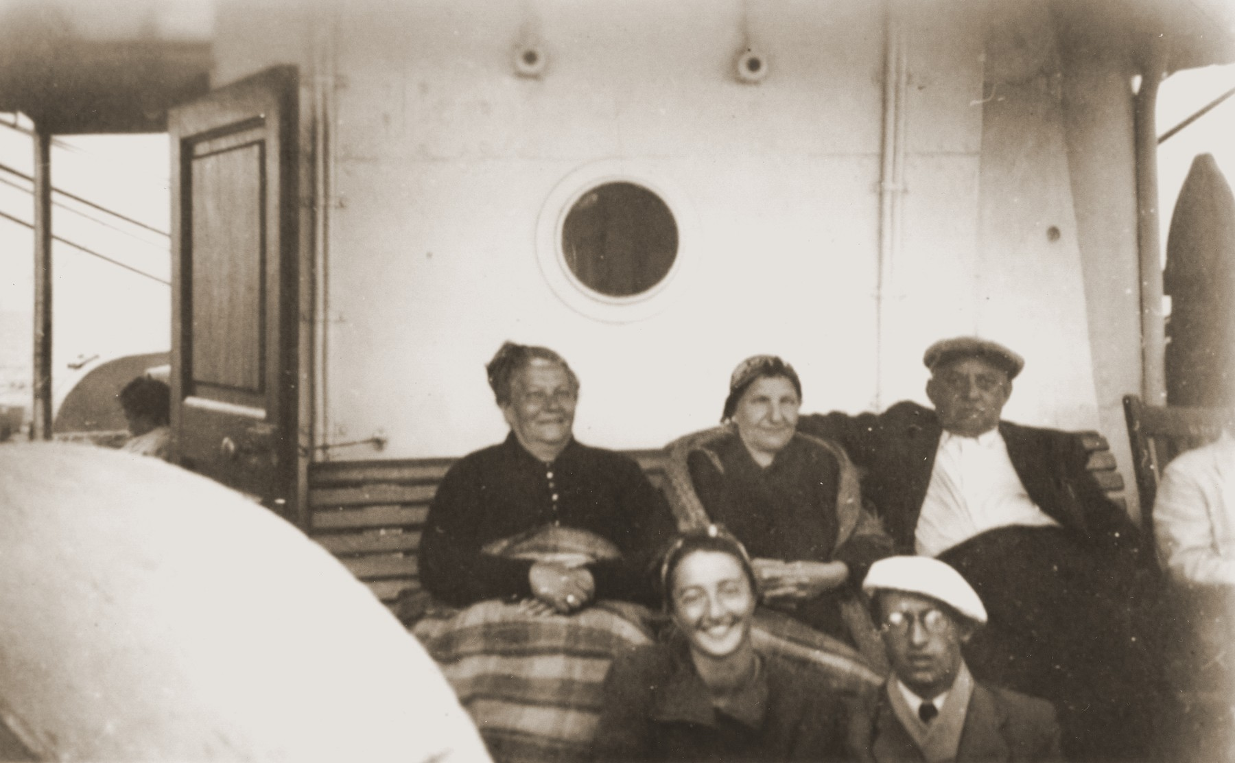 Austrian Jewish refugees on board the SS Virgilio en route from Italy to Chile.