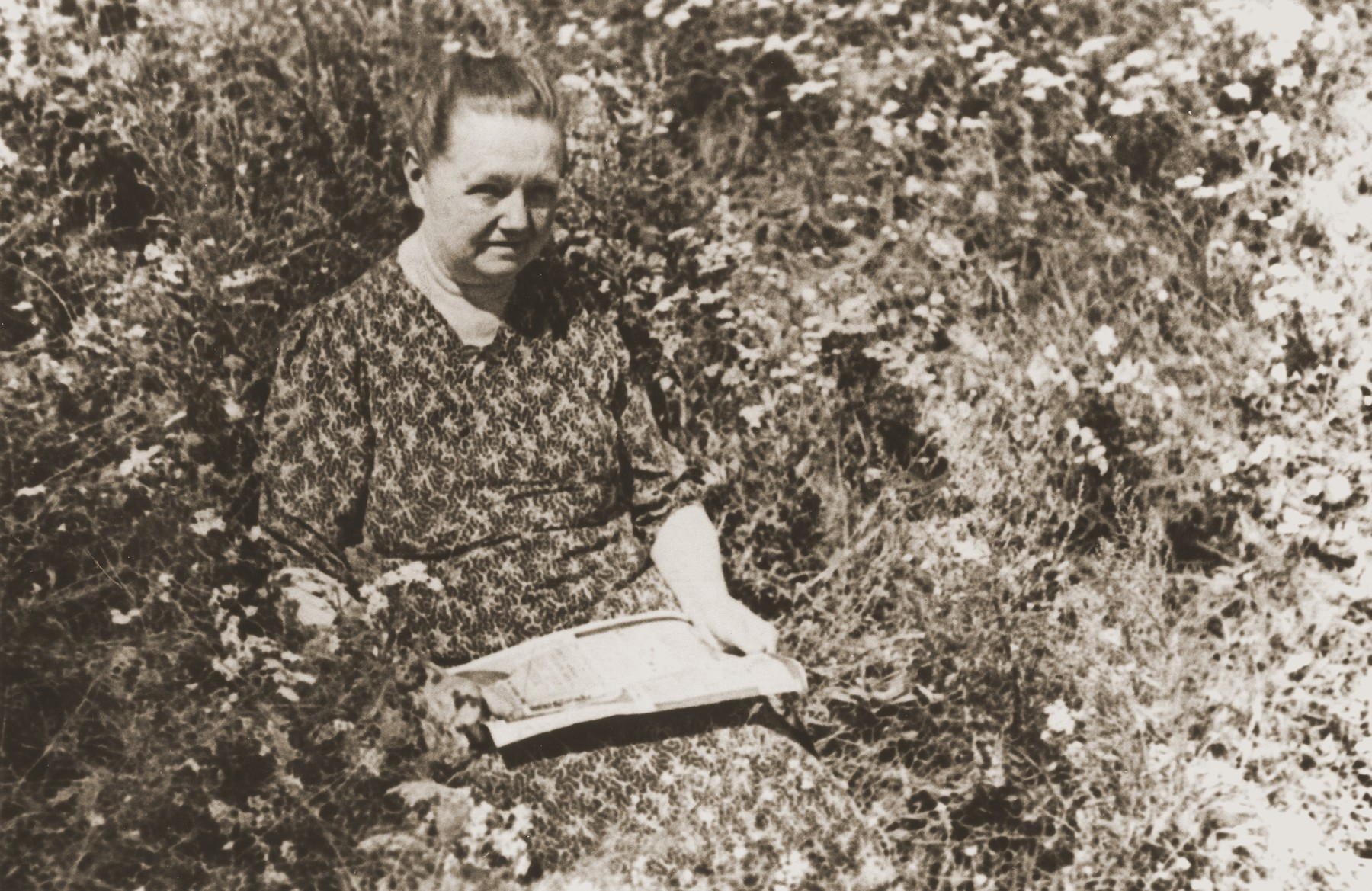 Portrait of Polish rescuer Eva Turkin in the garden of her old age home in Lodz.