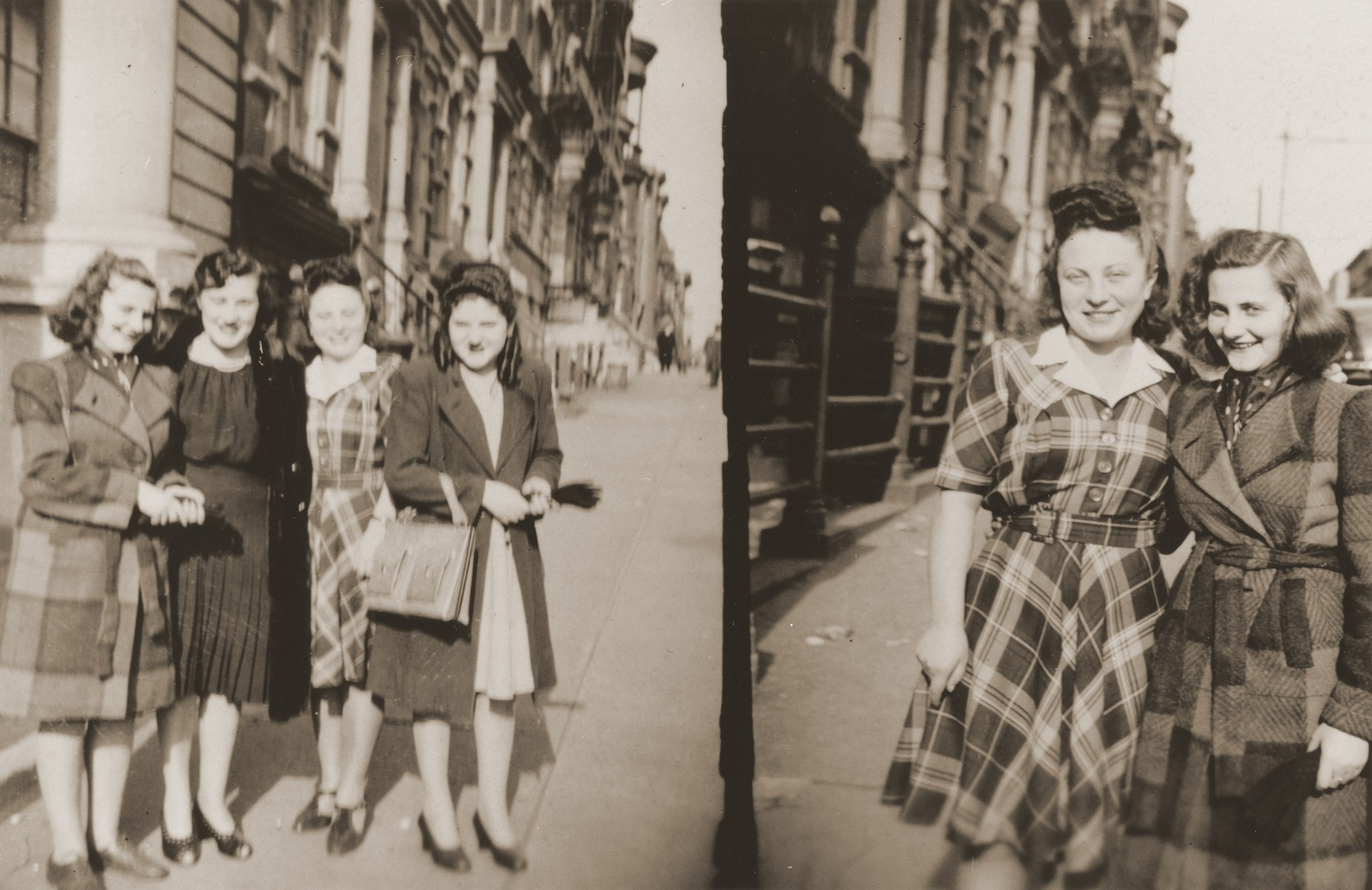 Salusia Goldblum with her aunt Ange Kraicer in front of the Jewish orphanage in the Bronx.