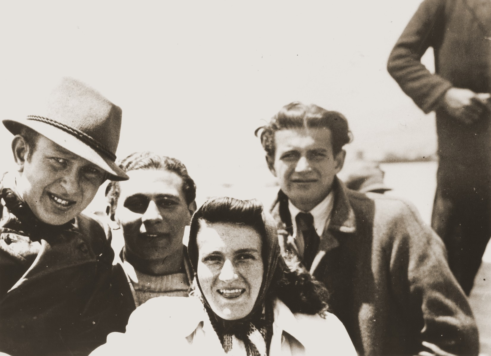 Austrian Jewish refugees on an excursion to Lake Titicaca in Bolivia.  Pictured from left to right are Eugen Spitzer; Heinz Jordan; Rosie Spitzer; and Julius Wolfinger (Rosie's brother).
